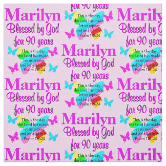 PERSONALIZED PINK BLESSED 90TH BIRTHDAY FABRIC