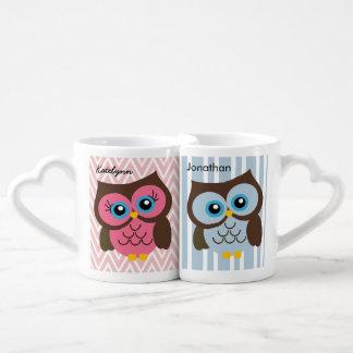 Personalized Pink & Blue Owl Heart Lovers Mug Set