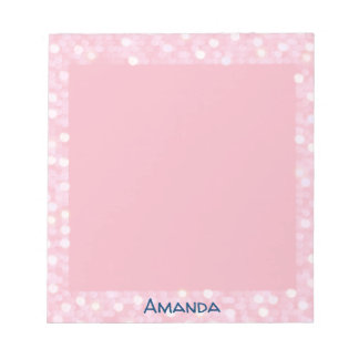 Personalized Pink Bokeh Frame Notepad