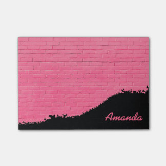 Personalized Pink Brick Pattern Post-it Notes