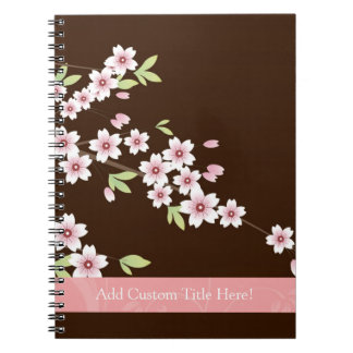 Personalized Pink/Brown Dogwood Blossom Spiral Notebook