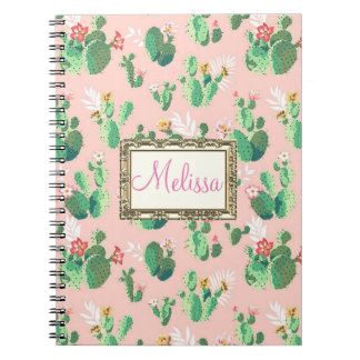 Personalized Pink Cactus Blooms Notebook