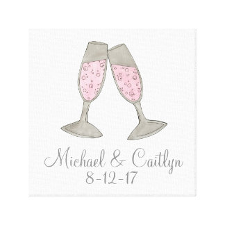 Personalized Pink Champagne Wedding Gift Wall Art
