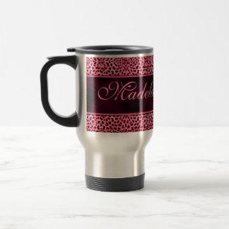 Personalized Pink Cheetah with Name Travel Mug