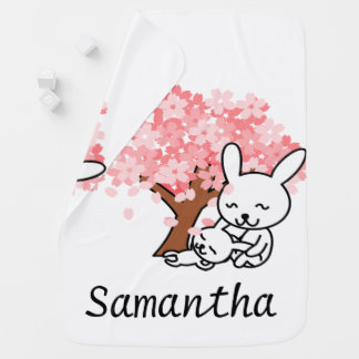 Personalized Pink Cherry Blossom Bunny Pramblanket