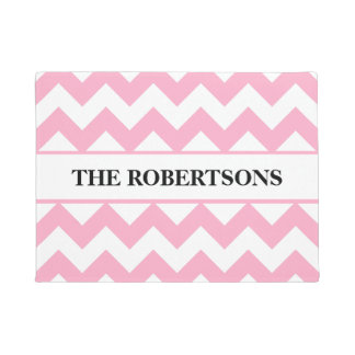 Personalized Pink Chevron Doormat