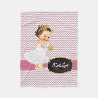 Personalized Pink Chevron Gold | Princess Nursery Fleece Blanket