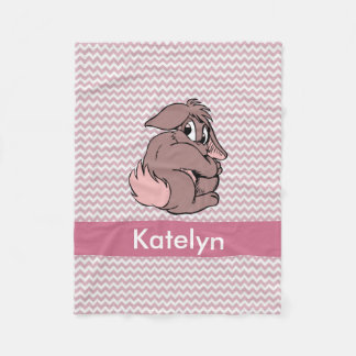 Personalized Pink Chevron | Nursery Girl Bunny Fleece Blanket