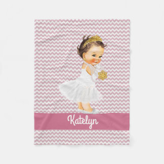 Personalized Pink Chevron | Nursery Girl Princess Fleece Blanket