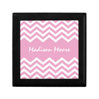 Personalized pink chevron pattern gift box