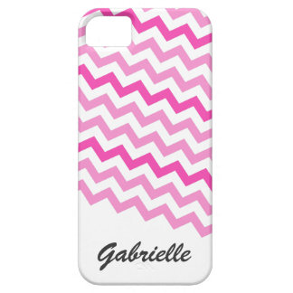 Personalized pink chevron zigzag pattern zig zag iPhone 5 cover