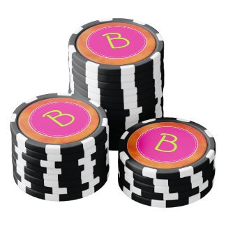 Personalized Pink Circle Orange Background Poker Chips