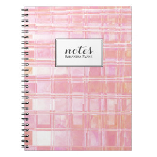 Personalized Pink Coral Watercolor Plaid Pattern Notebooks