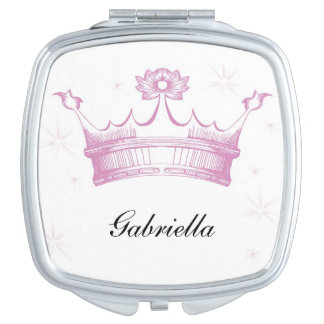 Personalized Pink Crown Compact Mirror
