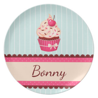 Personalized Pink Cupcake Mint Blue Background Dinner Plates