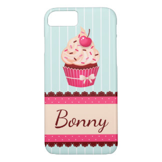 Personalized Pink Cupcake Mint Blue Background iPhone 7 Case