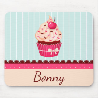 Personalized Pink Cupcake Mint Blue Background Mouse Pad
