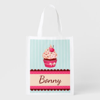 Personalized Pink Cupcake Mint Blue Background Reusable Grocery Bag