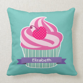 Personalized Pink Cupcake WIth Polka Dot Cherry Cushion
