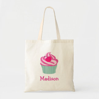 Personalized Pink Cupcake WIth Polka Dot Cherry Tote Bag