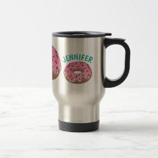 Personalized Pink Donut Doughnut Sprinkles Foodie Travel Mug
