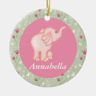 Personalized Pink Elephant Baby Birth Ornament