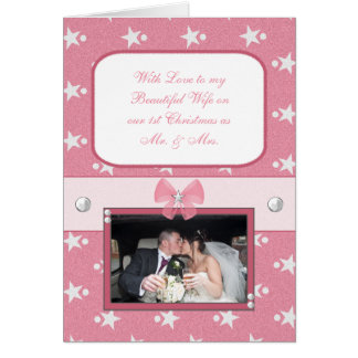 Personalized Pink First Christmas Beautiful Wife Card
