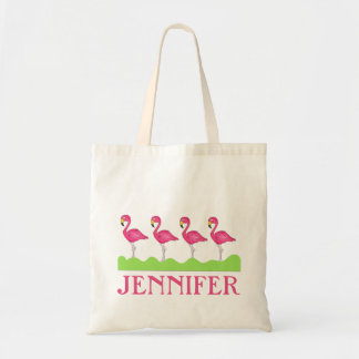 Personalized Pink Flamingo Flamingos Tote Bag