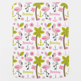 Personalized Pink Flamingos Baby Blanket