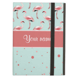 Personalized Pink Flamingos Polka Dots Cover For iPad Air
