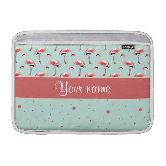 Personalized Pink Flamingos Polka Dots MacBook Sleeves