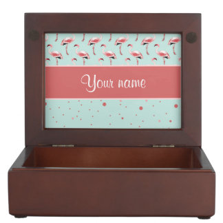 Personalized Pink Flamingos Polka Dots Memory Boxes