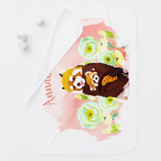 Personalized Pink Floral Red Panda Baby Blanket