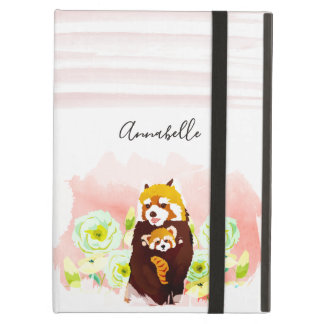 Personalized Pink Floral Red Panda iPad Air Case