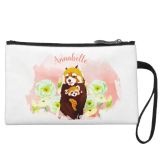 Personalized Pink Floral Red Panda Mini Clutch