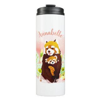 Personalized Pink Floral Red Panda Thermal Tumbler