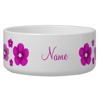 personalized Pink Flower Dog Bowl