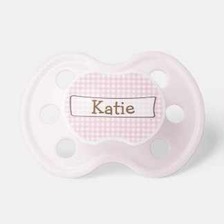 Personalized  Pink Gingham Pacifier