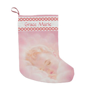 Personalized Pink Girl Baby Hearts Small Christmas Stocking
