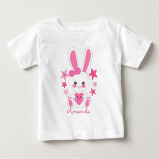 Personalized pink girly bunny baby T-Shirt