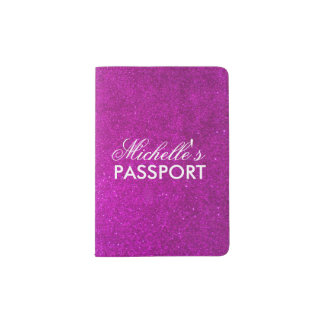 Personalized pink glitter passport holder for girl