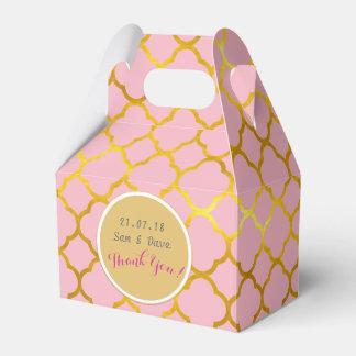 Personalized Pink Gold Quatrefoil Gable Box