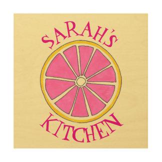 Personalized Pink Grapefruit Citrus Kitchen Decor