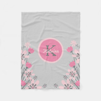 Personalized Pink Gray | Flowers Nursery Girl Fleece Blanket