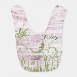 Personalized Pink & Green Floral Baby Bib