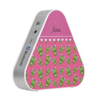 Personalized pink green frogs pink heart stripe speaker