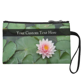 Personalized Pink/Green Lily Pad Wristlet
