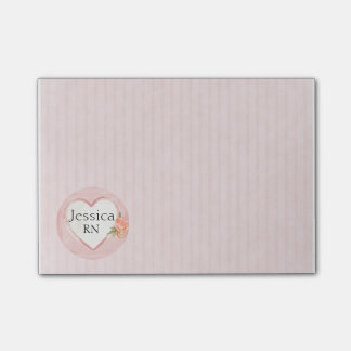 Personalized Pink Heart & Rose Nurse, RN Post-it® Notes