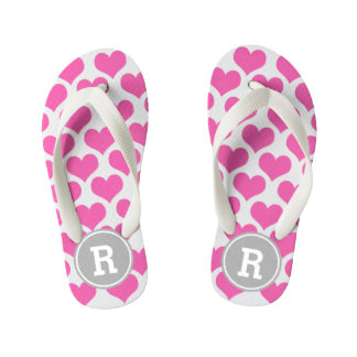 Personalized Pink Hearts Kid's Thongs