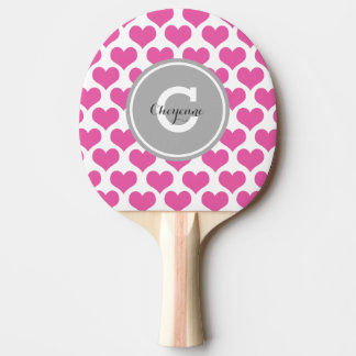 Personalized Pink Hearts Ping Pong Paddle